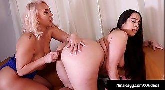 Big Boobed Nina Kayy & Curvy Latina Alycia Starr Dildo Bang!