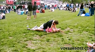 Voyeurboss catches horny rave couple bang at concert