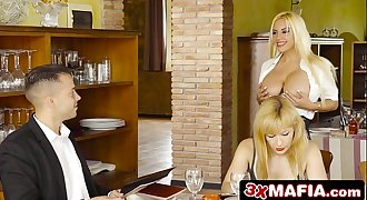 Whorish Blonde Bimbo Waitress Blondie Fesser Gives Blowjob Under the Table